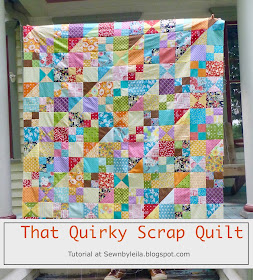 scrap quilt, quilt tutorial, precut fabric quilt, hst, qst, 4-patch quilt, free quilt tutorials patterns