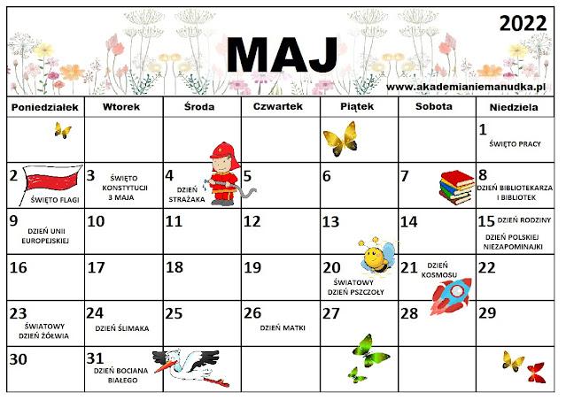 Kalendarz świąt nietypowych dla dzieci na rok szkolny 2021/2022 maj