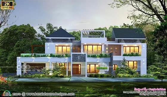 Grand and stylish Kerala home design