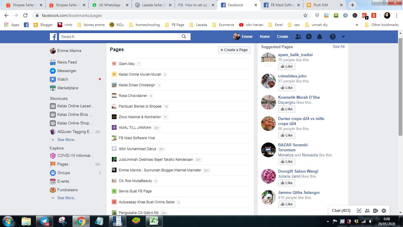 facebook page untuk bisnes online
