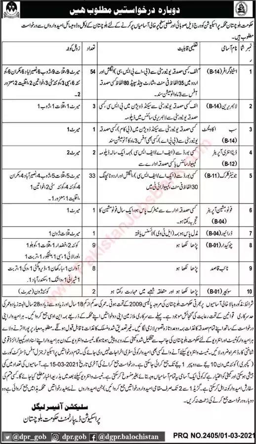 Latest Jobs in Pakistan Prosecution Department Balochistan Jobs 2021