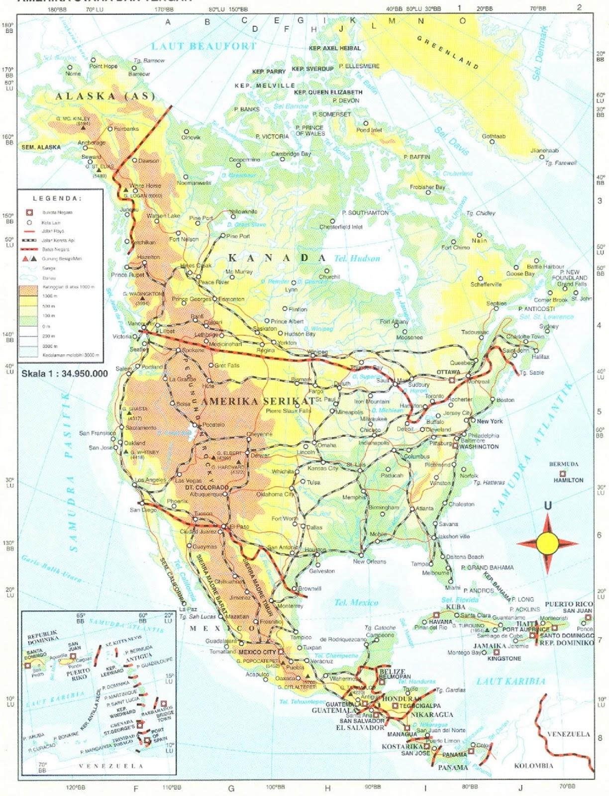 Peta Amerika Utara