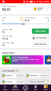 withdtow and add money winzo app