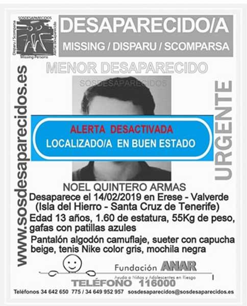 Localizado buen estado niño Noel Quintero Amas que se encontraba  como desaparecido en la isla de El Hierro