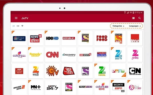 jio tv channels