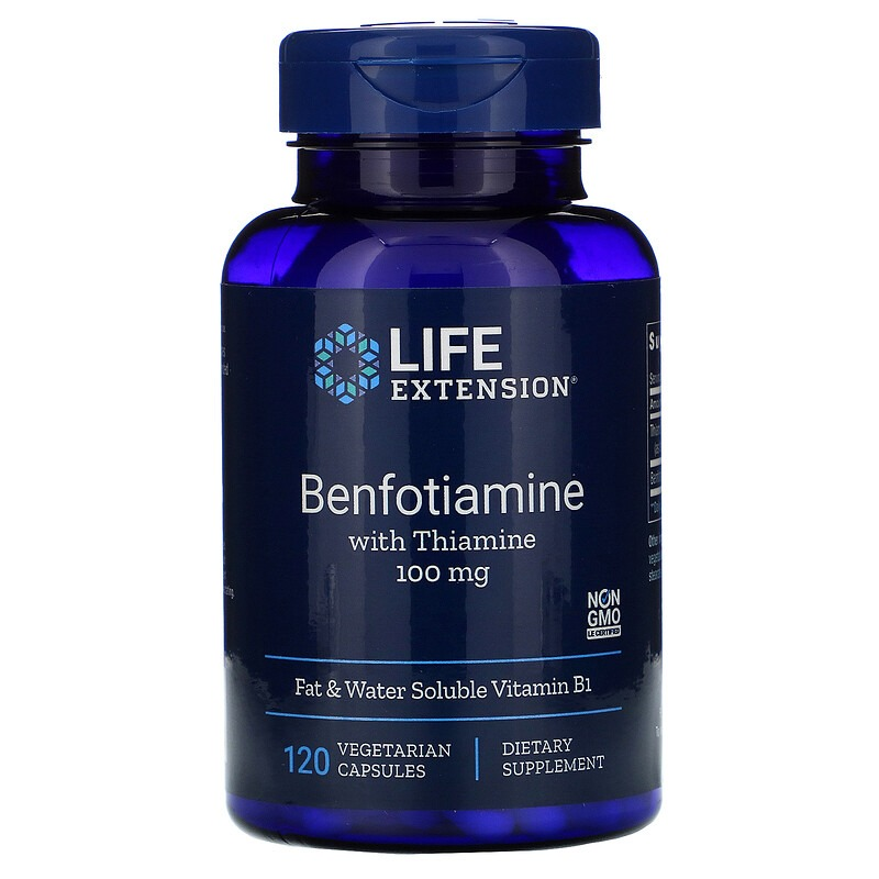 Life Extension, Benfotiamine with Thiamine, 100 mg, 120 Vegetable Capsules