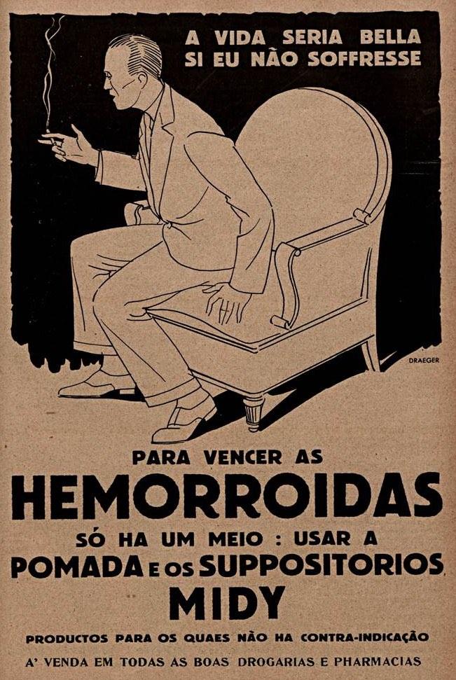 Propaganda veiculada em 1933 que apresentava produtos para combater as hemorróidas
