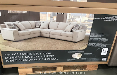 Costco 734946 - Have plenty of seating in your home with the Bainbridge 4-piece Fabric Sectional
