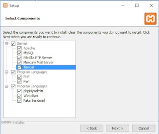 Memilih yang akan diistall dalam xampp install xammp version 7 32 bit 64 bit windows