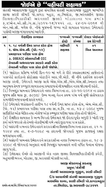 Vahivati Sahayak Recruitment in Sant Shree Aasharamji Gurukul Secondary School, Sarki Limbdi Dist. Arvalli