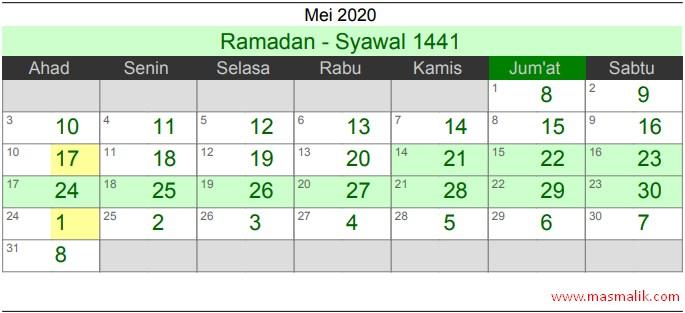 kalender Islam 2020, Mei