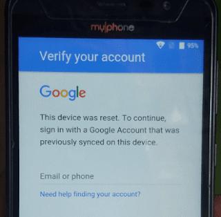 myphone my87 bypass google lock