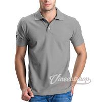 Kaos Polo Shirt Pria Warna Abu Muda