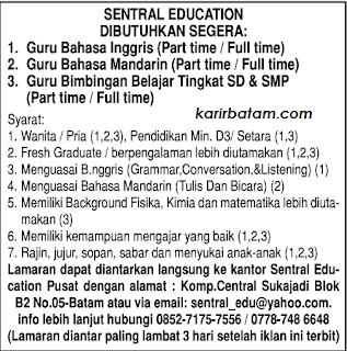 Lowongan Kerja Sentral Education Sukajadi Batam