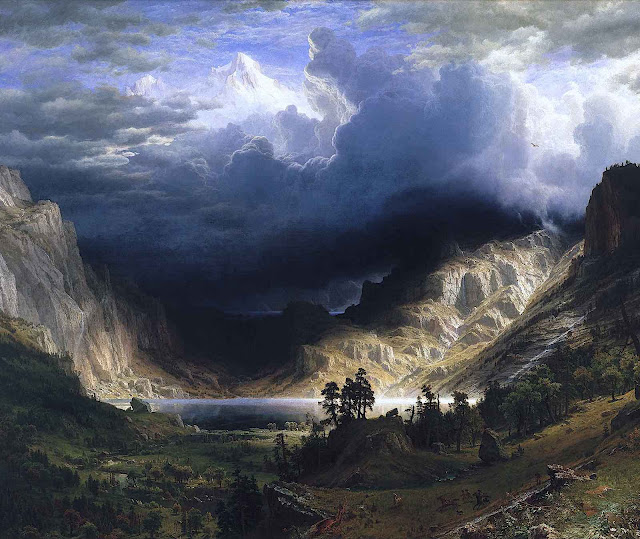 an 1866 Albert Bierstadt painting of storm clouds over a mountain lake