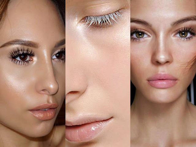 beauty blogger makeup strobing contouring colored eyebrows mascara glitter trend glossy eyelids