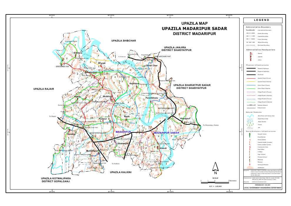 Madaripur Sadar Upazila Map Madaripur  District Bangladesh