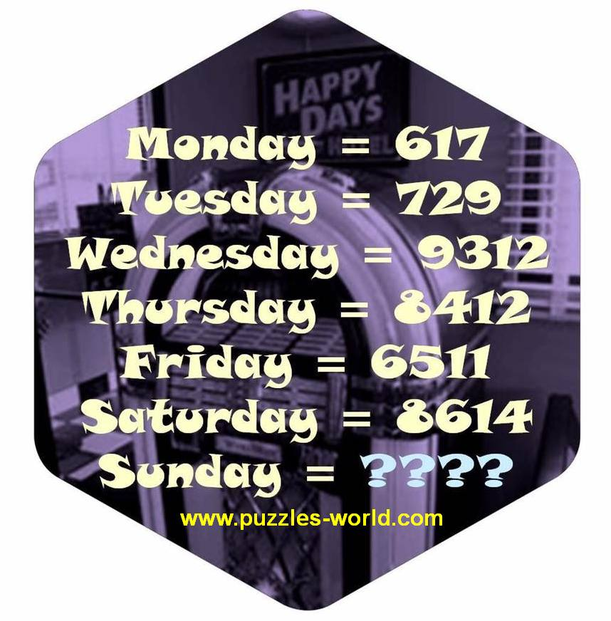 Monday = 617 Tuesday = 729 Sunday = ????