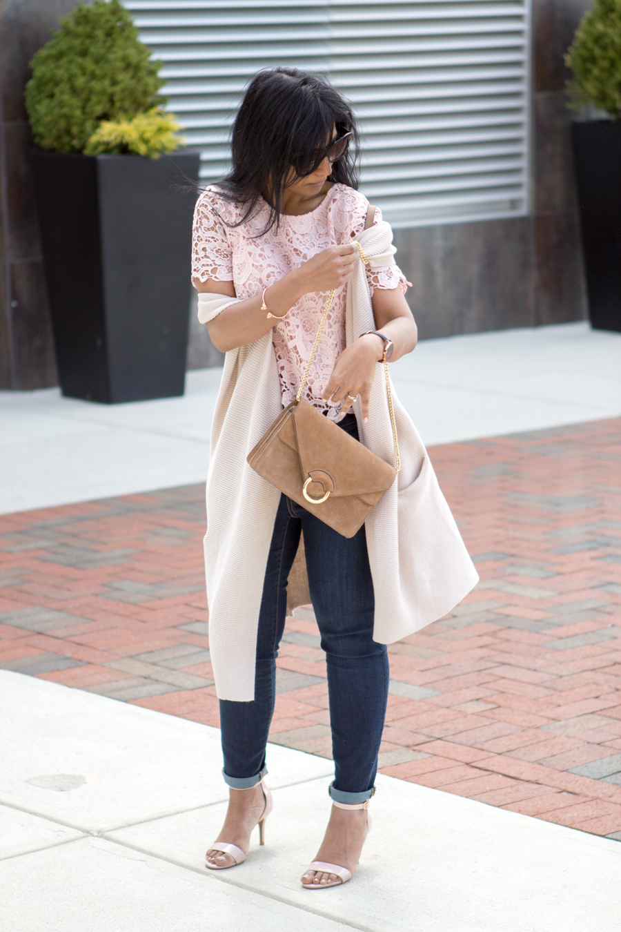 curvy jeans, petite jeans, skinny ankle jeans, spring lookbook, layers, vest, blush lace top, lace blouse, blush sandals, petite fashion, spring style, trendy style