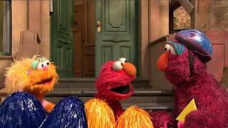 Cheerleader Elmo and cheerleader Zoe cheer for Telly. Sesame Street Episode 4420, Three Cheers for Us, Season 44
