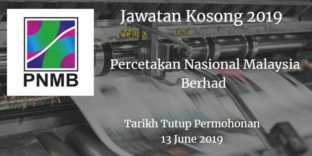 Jawatan Kosong PNMB 13 June 2019