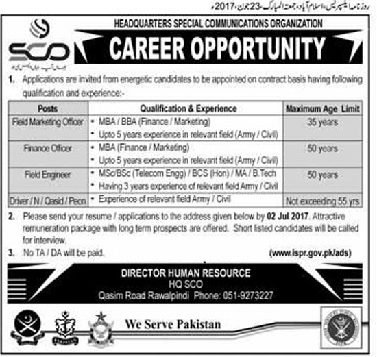 SCO Jobs in Headquarters Special Communication Organization Rawalpindi  23 June 2017.
