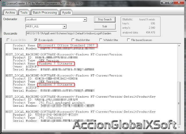 LicenseCrawler 2.1 Build 2295 | Recupera seriales de programas o del sistema operativo almacenados en un PC