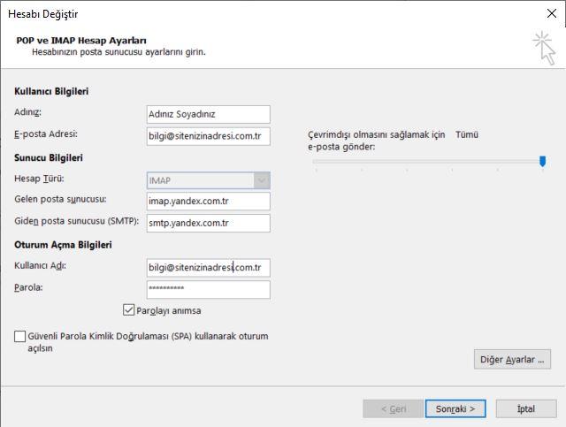 Outlook Yandex Mailini Hesap Olarak Tanımlama