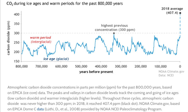 CO2 Levels over 800,000 years (Source: www.climate.gov)
