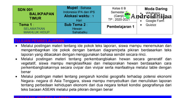 RPP Daring Kelas 6 tema 1 sub tema 2, RPP 1 halaman kelas 6 sub tema hewan sahabatku, RPP 1 halaman kurikulum 2013 revisi 2020 kelas 6 tema 1 sub tema 2