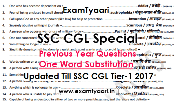 Previous Year One Word Substitution with HINDI Meaning(Bilingual) Asked in SSC Exams updated till SSC CGL Tier-1 2017 [Download PDF] - Exam Tyaari