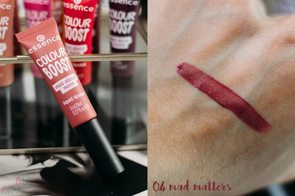 essence colour boost mad about matte liquid lipstick 04 mad matters inkl Swatch