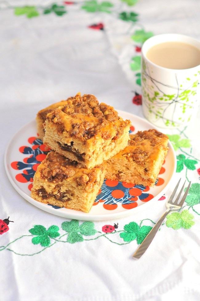 Cinnamon Streusel Coffee Cake by Kiku Corner featured at Pieced Pastimes