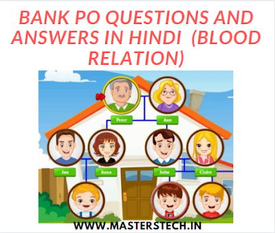 Bank PO Questions and answers in Hindi  (Blood Relation)