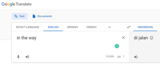In the Way Terjemahan Google Translate