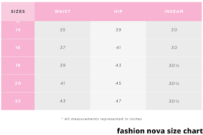 fashion nova size chart