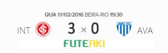 O placar de Internacional 3x0 Avaí pela 2ª rodada da Copa Sul-Minas-Rio 2016.