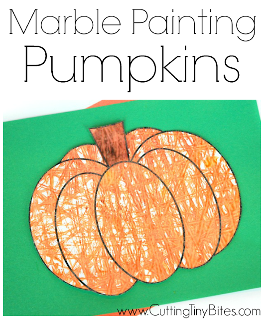 Fall or Halloween process art craft project for kids. Marble painting pumpkins or jack-o'-lanterns! Great for preschool or elementary.
