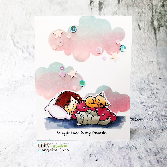 ScrappyScrappy: Brand NEW release by Unity Stamp - Cuddle Time #scrappyscrappy #unitystampco #cardmaking #stamp #papercrafting #handmadecard #distressoxide #stencil #copicmarkers #cuddletime #tierrajackson #cloudstencil #simonssaysstampstencil #simonsaysstamp #sequins #rainbowclouds #cottoncandyclouds #sweetdreams