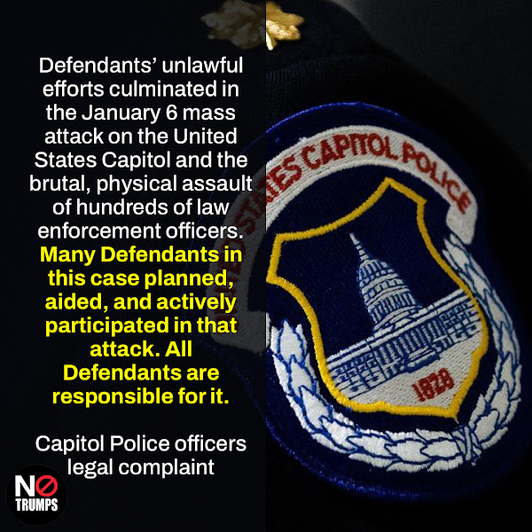 Defendants' unlawful efforts culminated in the January 6 mass attack on the United States Capitol and the brutal, physical assault of hundreds of law enforcement officers. Many Defendants in this case planned, aided, and actively participated in that attack. All Defendants are responsible for it. — Capitol Police officers legal complaint