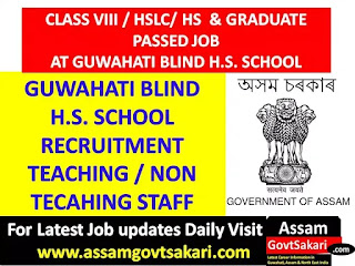 Guwahati Blind HS School Recruitment 2019