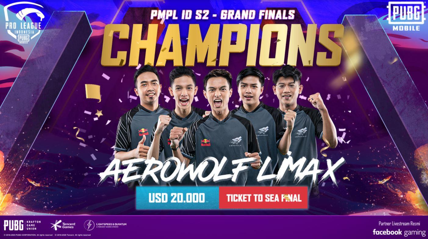 Aerowolf Limax Juarai PUBG Mobile Pro League Indonesia Season 2