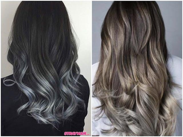 Gaya ombre abu-abu untuk rambut panjang