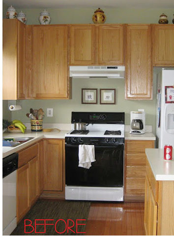 Honey oak cabinets in kitchen
