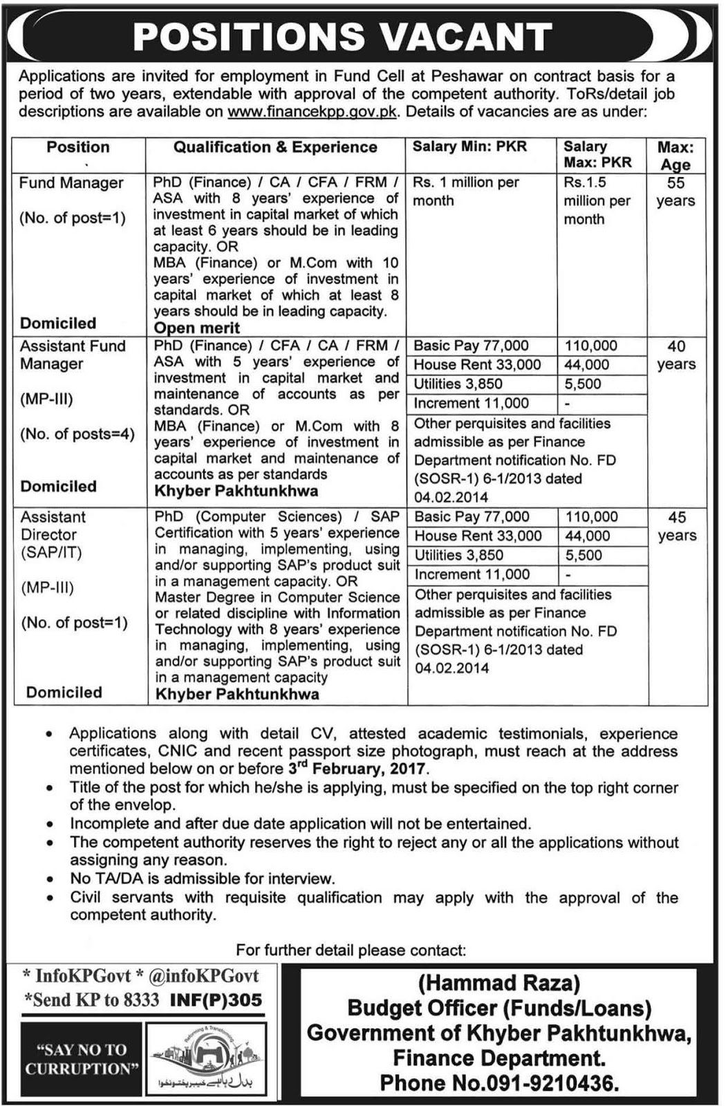 Khyber Pakhtunkhwa Finance Department Fund Cell Peshawar Jobs