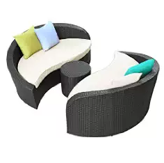 Outdoor Furniture, Wicker Sofa Sets, Wicker Outdoor Furniture, LexMod Twirl Outdoor Wicker Patio 3 Piece Sofa Set