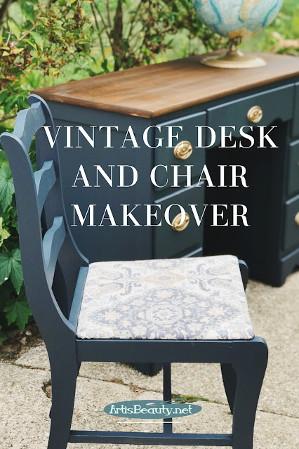VINTAGE DESK AND CHAIR MAKEOVER USING CUSTOM BLUE GENERAL FINISHES MILK PAINT COLOR MIX CUSTOM ARTISBEAUTY.NET KARIN CHUDY