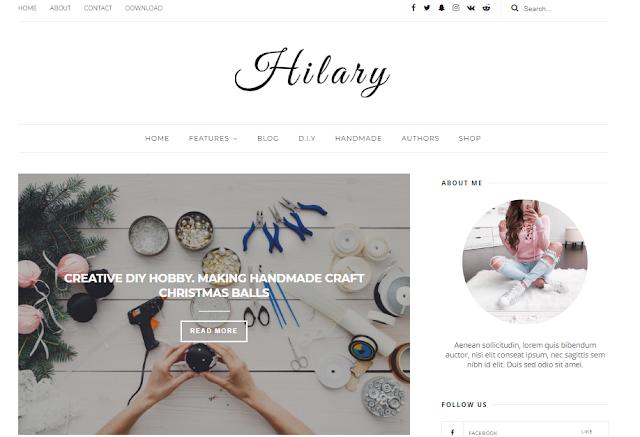 mẫu template blogspot cá nhân Hilary