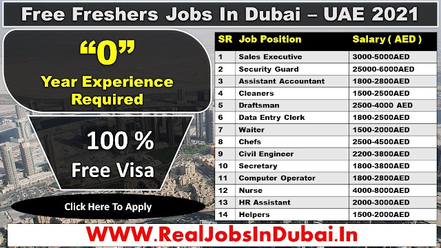 Jobs In Dubai For Freshers UAE 2021