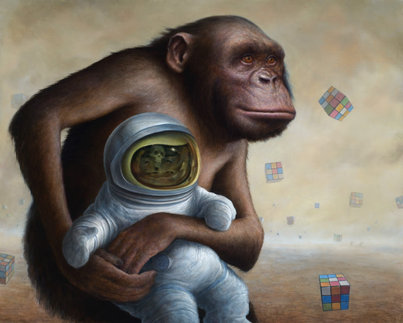 Chimps and Astronauts Paintings by Chris Leib from California.